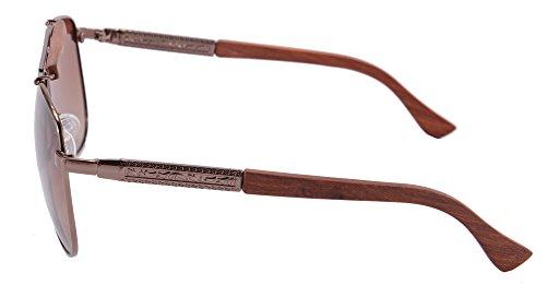 Style de Classique de Lunettes de Soleil Polarisees Pilote pour les hommes-1565(bois de santal rouge-brun) d7M1wMcY