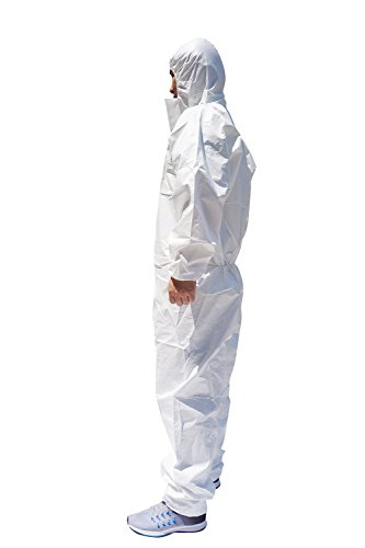Raytex 30203 Microporous Disposable Coveralls Protective Breathable Hooded Suit with Elastic Cuffs, Ankles and Waist,Zip Front Opening, Serged Seams for Spray Paint Chemical Industrial(Large, White)