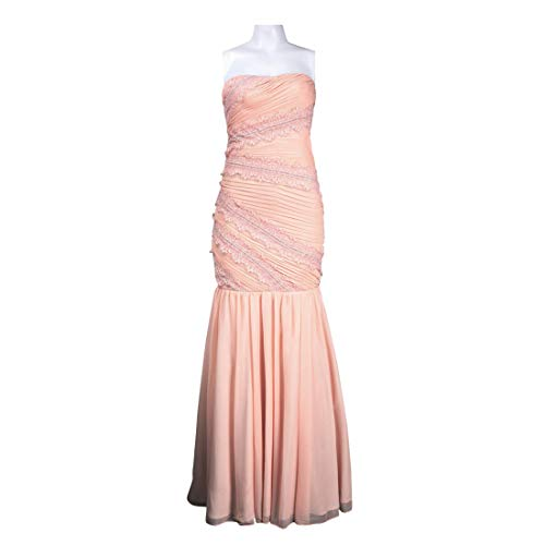 (JS Collections Strapless Embellished Bodice Mermaid Cut Sheer Matte Jersey Dress, Blush, 4)
