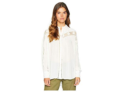 Free People Women's Katie Bird Button Down Ivory Medium