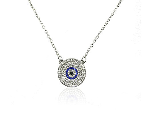 Swarovski Evil Eye Protection - 3710 Silver Evil Eye Necklace Round Crystal Pendant Turkish Kabbalah Jewelry for Protection