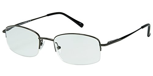 SightLine Multifocal Computer Reading Glasses 6002 Semi-Rimless Designer Frames (1.00, Gunmetal) ()