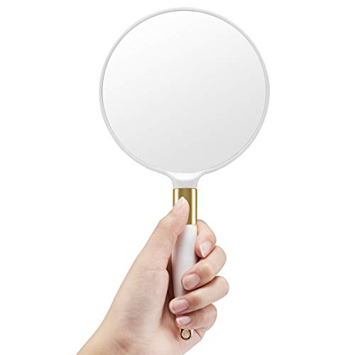 Round Hand Mirror - OMIRO Hand Mirror, Round White Handheld Mirror with Handle, 4.7