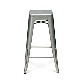 reproduction tolix bar stool in galvanized raw metal amazon co uk