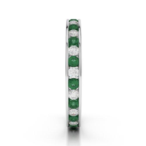 Or blanc 18carats 0,68ct G-H/VS sertie de diamants ronds découpé Émeraude et bague éternité Agdr-1087