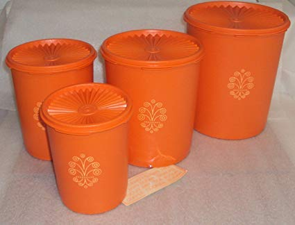 Vintage Tupperware Servalier Canister Set of 4, Retro Orange