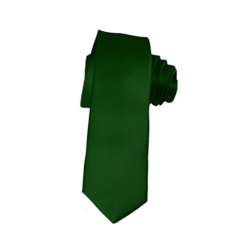 Skinny Hunter Green Tie 2 Inch Solid Mens Tie Satin by K. Alexander ()