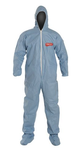 Liberty PolyGard SpunBonded Polypropylene Lightweight Zipper Front Coverall with Hood and Boots, X-Large, Blue (Case of 25)