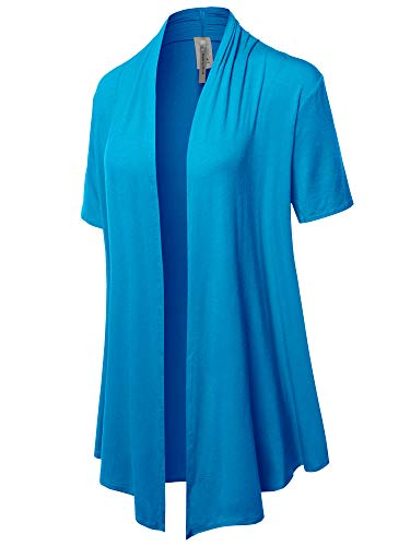 Solid Jersey Knit Draped Open Front Short Sleeves Cardigan Turquoise M