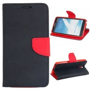 Double-color PU Leather Protective Case for Samsung Note3 Black and Red