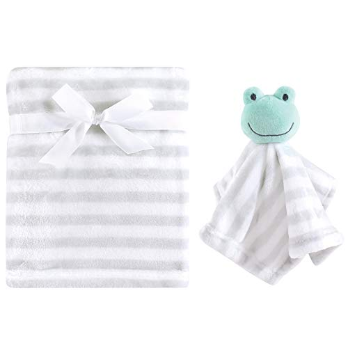 Hudson Baby Unisex Baby Plush Blanket with Security Blanket, Frog 2 Piece, One Size