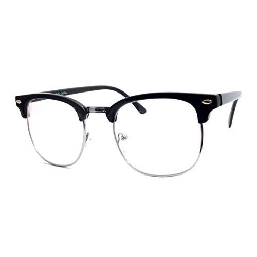 Half Frame Horn Rimmed Glasses : Vintage Inspired Classic Half Frame Horn Rimmed Clear Lens ...