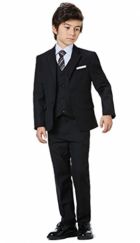 (Boys Classic Formal Dress Suits Set 5 Piece Slim Fit Dresswear Suit (5, Black 2))
