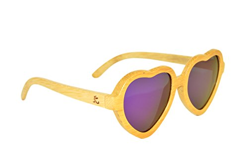 KYND Wooden Bamboo Polarized Sunglasses Heartbreakers Style For Men And Women - Heartbreakers Natural Royal - Sunglasses Designer Look Alike