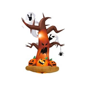 Halloween Inflatables 8′ Tall Inflatable Dead Tree w/ Ghost on Top/ Pumpkins on Bottom