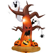 Halloween Inflatables 8' Tall Inflatable Dead Tree w/ Ghost on Top/ Pumpkins on Bottom -