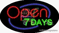 Open 7 Days LED Sign 15 inch tall x 27 inch wide x 3.5 in...