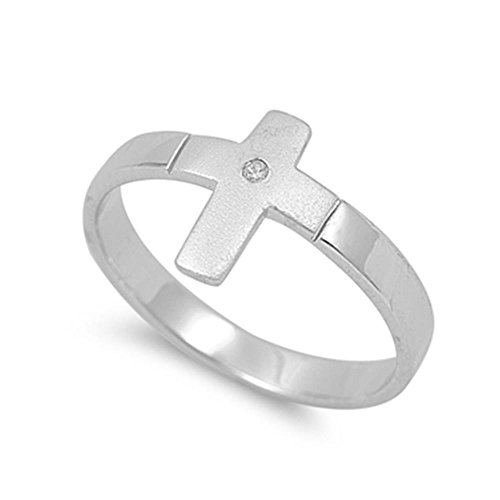 Sterling Silver Sideways Cross Satin Brushed Finish With CZ Ring, 13mm (8)