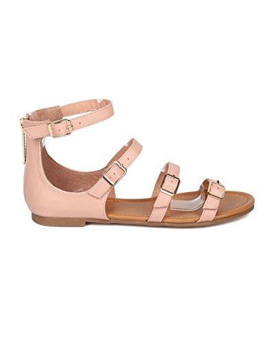Breckelles Kvinnor Spände Flat Sandal - Strappy Öppen Tå Sandal - Gladiator Sandal - Ha10 Av Rouge Läder