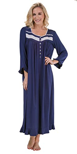 (Eileen West Long Plus Long Sleeve Modal Knit Nightgown in Navy Midnight (Navy, 3X))