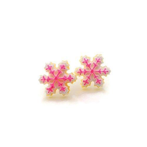 Snowflake Decorated Sugar Cookie Earrings on Plastic Post Studs for Metal Sensitive Ears