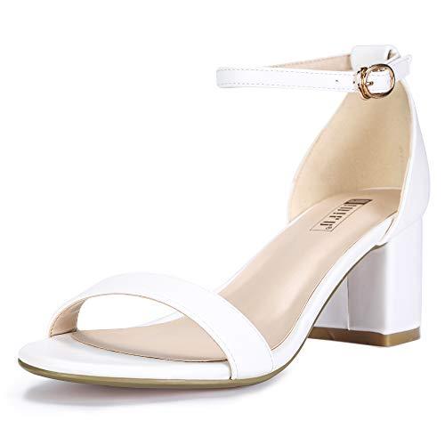 IDIFU Women's IN2 Cookie-LO Low Heel Ankle Strap Dress Pump Sandal (White PU, 11 B(M) US)