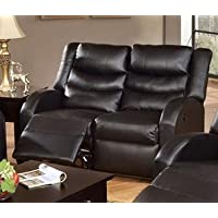 Bonded Leather Hardwood Motion Loveseat by Poundex