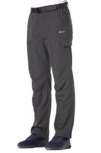 Mens Belted Elastic Waist Cargo Pants Lightweight Quick-Dry Water-Repellent, Grey, M ()
