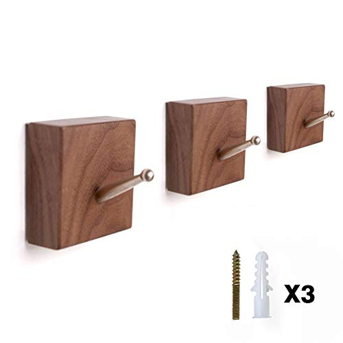 (HoneiLife Coat Hooks Wall Hanger - Bathroom Hooks Solid Wood Coat Rack with Brass Hook Wall Mounted Kitchenware Organizer Natural Wooden Wall Hooks Handmade Coat Hanger Key Holder,Walnut 3 Pack)