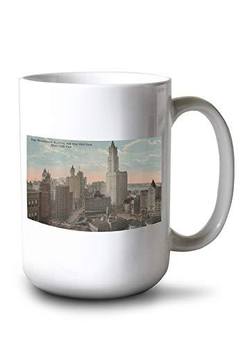Lantern Press New York, NY - Woolworth Building and City Hall Park (15oz White Ceramic Mug)