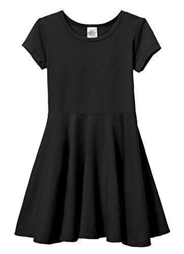 City Threads Big Girls' Short Sleeve Twirly Circle Party Dress Perfect for Sensitive Skin/SPD/Sensory Friendly for School or Play Fall/Spring, Black, 16