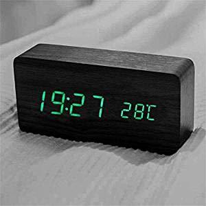 Datum Wecker Uhr Digitalwecker Anzeige Temperatur Holz Tisch Queta Stundeschwarz Led 1224 qULMGzSVp