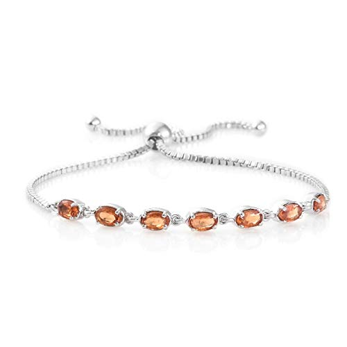 925 Sterling Silver Platinum Plated Oval Orange Sapphire Bolo Fashion Bracelet For Women Cttw (Platinum Sapphire Bracelet)