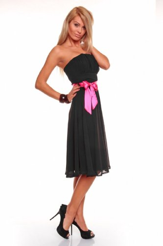 abito sera abito Bandeau Black XS XXL cocktail ball Ginocchio Black Chiffon lungo Fest dell' Mayaadi vestito da da vestito Deluxe a abito XPqRFz