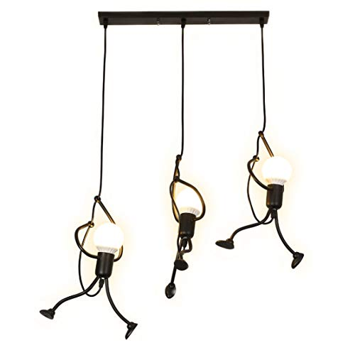 SOUTHPO Pendant Lighting Black Modern Creative Little People Mini Adjustable Hanging Lights for Bedroom Decor Iron Cartoon Doll Chandeliers for Dining Rooms 3×E26 Baking Paint Finish (L)