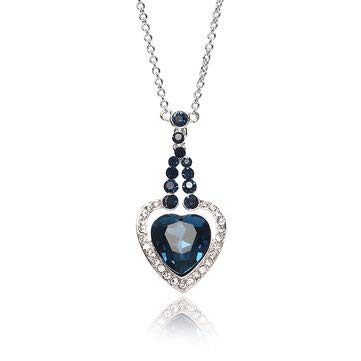 (Heart of Ocean Sapphire Crystal Necklace Platinum Plated Rhinestone Gift - Fine Jewelry Fine Necklaces)