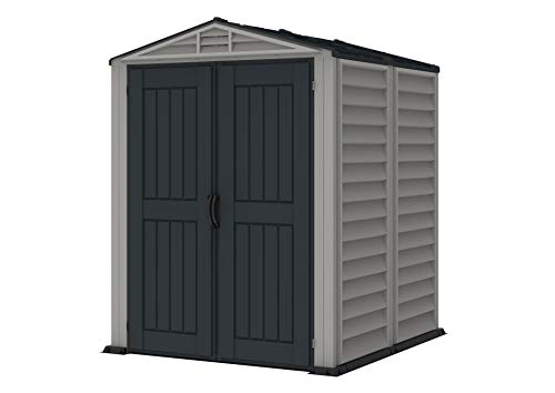 Duramax Outdoor Shed - Duramax YardMate 5' x 5' Plus Plastic Garden Shed with Plastic Floor - Anthracite & Adobe - 15 Years Warranty