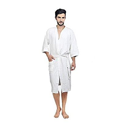 Buy FEELBLUE Men s Terrycloth Bathrobe (White-Full) Online at Low Prices in  India - Amazon.in 3577d259d