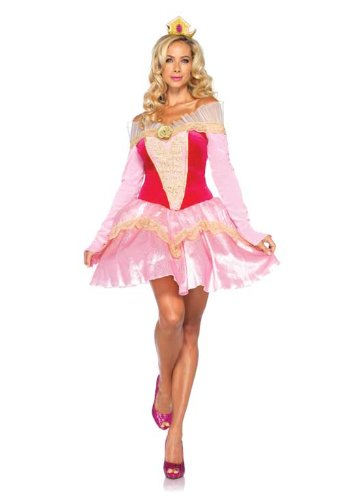 Leg Avenue Disney 2Pc. Princess Aurora Costume Dress with Organza Stay Up Collar and Crown Headpiece, Pink, Small