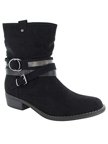 Slouch Riding Boots - XAPPEAL Womens Shin High Low Heel Slouch Boot Shoes, Black, US 7