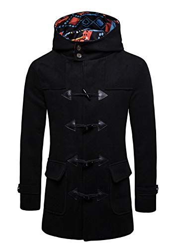 Fur Trimmed Toggle - Frontier Fashion Men's Wool Blend Patch Pocket Leather Trimmed Toggle Black Coat B79-black-xxl
