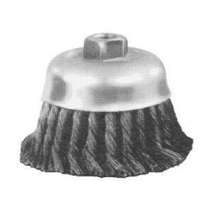 PFERD 82546 Single Row Power Knot Cup Wire Brush with Internal Nut and Standard Twist, Threaded Hole, Carbon Steel Bristles, 6'' Diameter, 0.023'' Wire Size, 5/8''-11 Thread, 6000 Maximum RPM