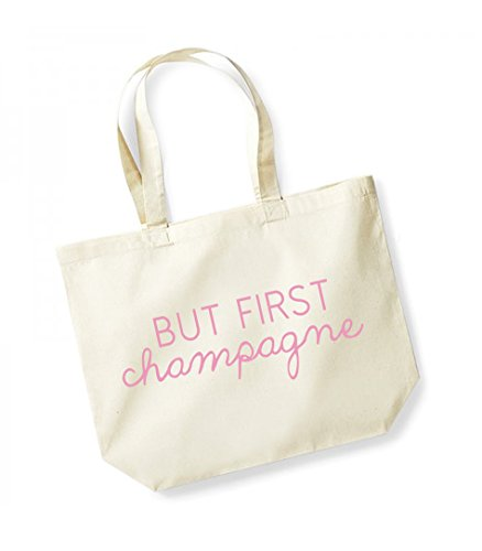 Champagne pink Canvas Tote First Cotton But Unisex Natural Bag Slogan 1qwH0zg