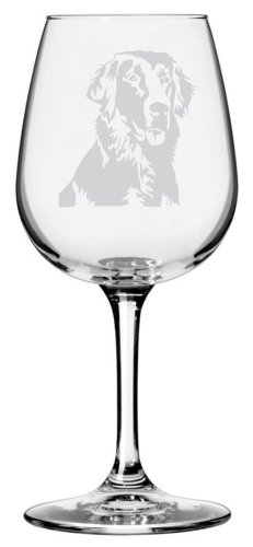 Flat-Coated Retriever Dog Themed Etched All Purpose 12.75oz Libbey Wine - Flat Retriever Coated