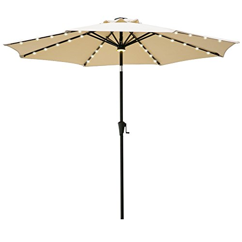 9' Outdoor Market Umbrella - C-Hopetree 9ft LED Patio Market Umbrella Outdoor Parasol with Crank Winder, 8 Rib, Auto Tilt, Beige