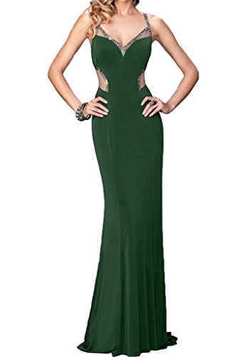 Ausschnitt Elegant Chiffon Dunkelgruen V Paillette Abendkleid Partykleid Damen Promkleid Linie Etui Festkleid Ivydressing Cqtgwg