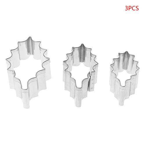3pcs Stainless Steel Holly Leaf Cookie Cutter Christmas Biscuit Mould Mold DIY]()