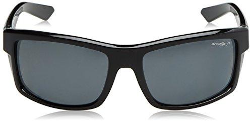 Arnette Men's AN4216 Corner Man Rectangular Sunglasses, Gloss Black /Polarized Dark Grey, 61 mm