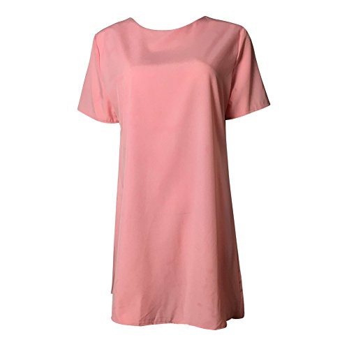 Cotton Causal Dress Elastic Dress Wedding Sleeve Shirt Short T Party Women Prom Pink Short Daxin Mini wHAaIqI