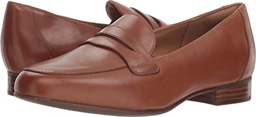 CLARKS Womens Un Blush Go Loafer, Dark Tan Leather, Size 8.5